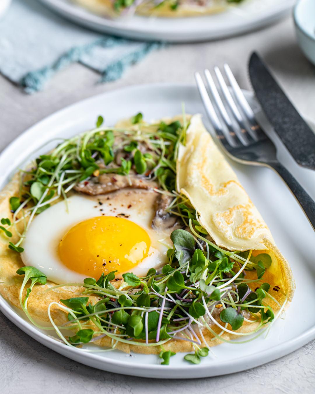 Mushroom & Egg Savory Crêpes
