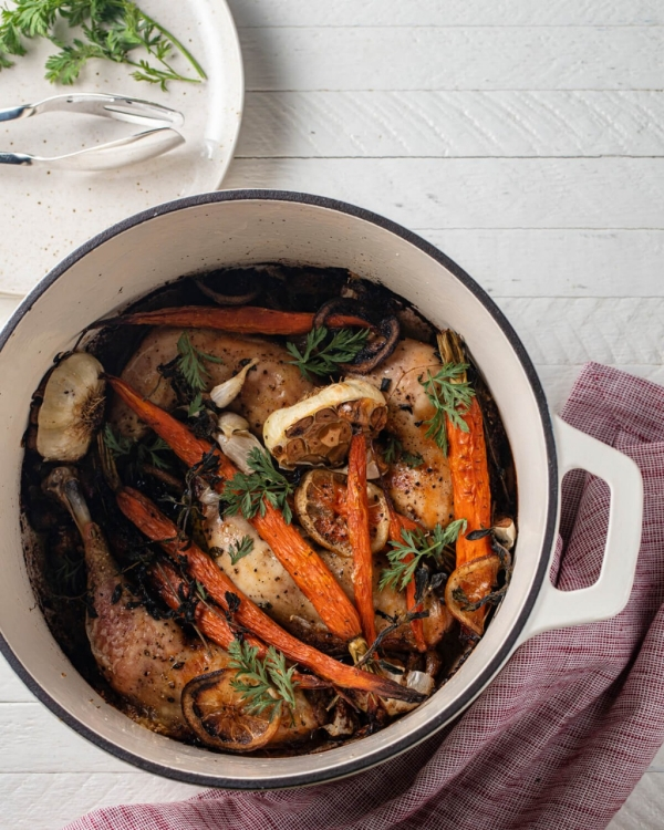 One Pot Roasted Chicken & Caramelized Carrots