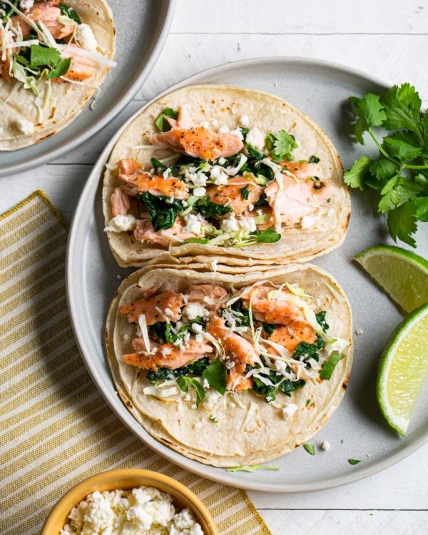 Salmon Tacos with Greens & Tomatillo Salsa